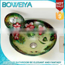 Mexican Stylish Tempered Glass Handpainted Lavabo Vessel Sink Wash Basin With Water Fall