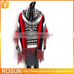 Women new knit design hood poncho style with fringe
