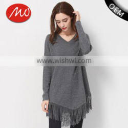 Hot sale winter women stylish polyester long pullover sweater with fringe