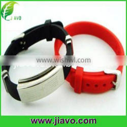 Fashion design stainless steel silicone sports wristbands with negative ions