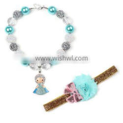 2016 new baby chunky necklace fashion children necklace with headband cool spear crystal necklace