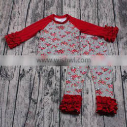 Yawoo promoted girl floral patterns raglan fall clothes toddler boutique clothing