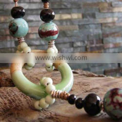 Chinese style fashion ceramic long necklace for woollen sweater