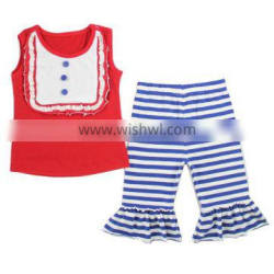 High quality fourth of July clothes patriotic ruffled capri boutique summer outfit 4th of July outfit