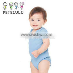 Short Sleeves Baby Sleepsuit Plain Snap Crotch Pure Baby Bodysuits