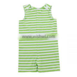 Wholesale lime green striped cotton knit baby clothes set onesie baby carters bodysuit baby boy clothes baby girl rompers