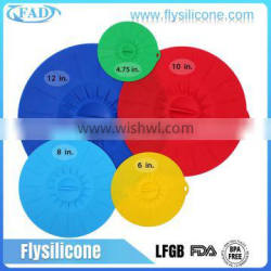 OEM Home & Garden Food Grade Set of 5 Colorful Pot Cover, Silicone Suction Lids for Cup