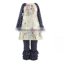 2016 kaiyo wholesale fall boutique girl clothing print dot dress and dot ruffle pants baby frock design pictures