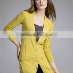 women V neck cashmere cardigan