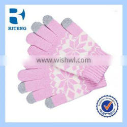 different material acryllic 5 fingers knitted touch gloves