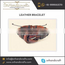 Unisex Leather Knot Stud Bracelet Available for Wholesale at Affordable Price