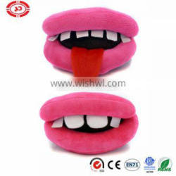 Plush pink mouth big lip with white teeth funny play pet toy for puppy