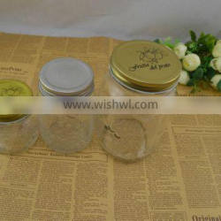 different size jam jars with gold lid