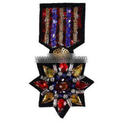 Fashion Anise Star Rhinestones Brooch Beaded Crystal Badge Patches
