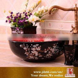 Classical round shaped red and black glaze ceramic kitchen sink