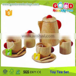 Yiwu China EN71/ASTM Certified Wooden Tea Set Toys Natural Color Christmas Toys