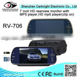 car accessories 7 inch HD rearview mirror with USB+SD