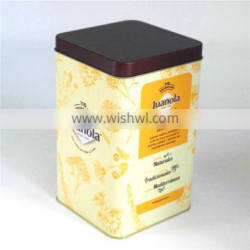Square coffee gift storage packaging metal tin box for sale
