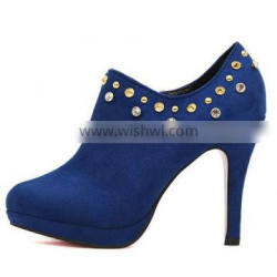 Hot sale women ankle boots blue high heel boots ladies boots with rivet PMS3928