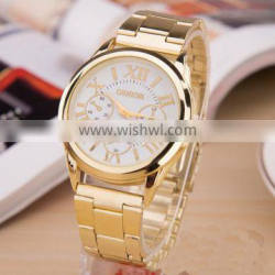 New Stainless Steel Geneva Watch Business Gold Wristwatch Quartz Watches Men Casual Geneva Wrist Watches