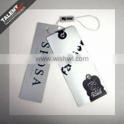 custom private lady garment brand name paper hang tag with plastic seal string tag