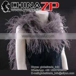 Leading Supplier CHINAZP Bulk Sale Wonderful Dyed Grey 35Gram Weight Ostrich Feathers Plume Scarf for Girls