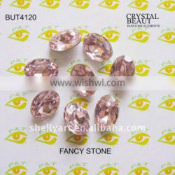 Fancy stone BUT4120 Ellipse shape 10*14mm pink color for clothing
