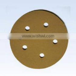 Yellow 5 holes hook and loop abrasive disc
