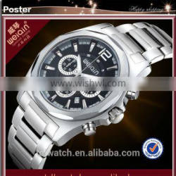sapphire crystal japan movement watch with calender/solid band man watch