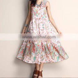 New Arrivals Women Dresses Light Pink Paisley Chiffon A-Line Midi Dress Women Floral Dress Women Clothes GD90426-16