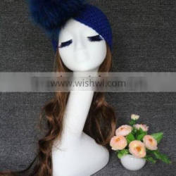 Ladies hot sale fashion knit headband with big raccoobn fur pompom hair accessories