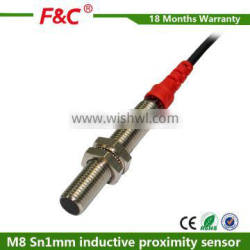 F&C M8 Sn1mm 12V-24V dc NPN type inductive proximity sensor with CE Quality Choice