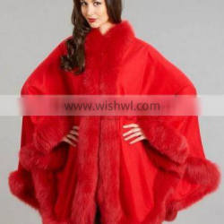 2016 New Style Factory Wholesale Price Stylish Red Cashmere Cape With Fox Fur Trim