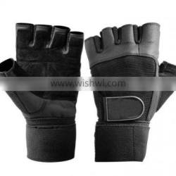 Black weight lifting gloves with strap goat leather