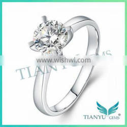 925 Sliver Finger Ring 1Carat 16 Hearts & Arrows Round Cut Moissanite Ring for Women