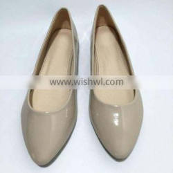 nude patent pu upper tpr sole pointy cheap ballerina shoe women shoes laides flat shoes ballet flats