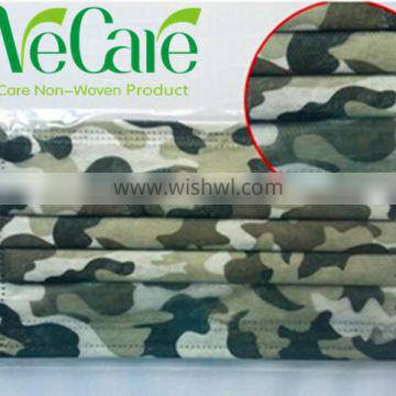 Disposable Non woven camouflage face mask with earloop for CS field operation
