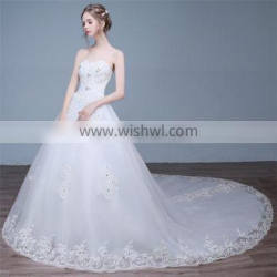 HS1625 2017 Bling Wedding Dress China Long Train Sequined Bridal Ball Gown