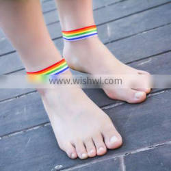 Cheap Summer Women Girls Rainbow Ribbon Anklet