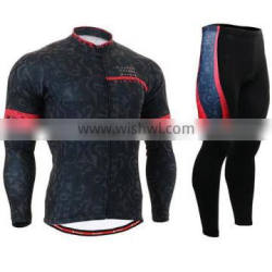 Arrival black warm breathable long sleeve cycling clothing China wholesale cheap custom team cycling Jersey