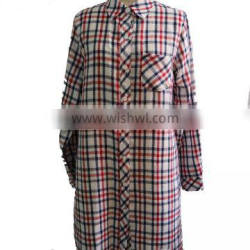 White with Multi-Colour tartan Plaid Soft Point Collar and Box Pleated Back Yoke Button Down Long Shirt