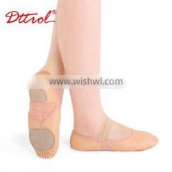 OEM Child and Adult split straight sole leather ballet dance shoe ballerina shoe flats with mesh D012002
