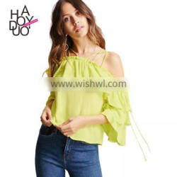 HAODUOYI Soild Yellow Women Blouse Lace-up Double Ruffles Off Shoulder Female Shirts Backless Short Sleeve Top for Wholesale