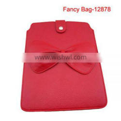 Red pu leather laptop bag