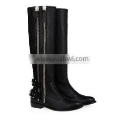 Newest Fashion Ladies Double Zippers Fall Winter Real Leather Knee Flat Heel Long Boot Women Over Knee High Boot