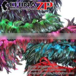 ZPDECOR Best Selling Chicken Plume Wholesale Cheap Colored Mix Colors Half Bronze Rooster Schlappen Feathers Strung