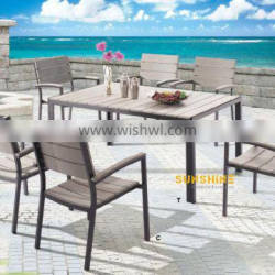 Cheap Patio furniture Outdoor Plastic wood dining Table set FCO-P06