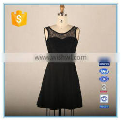 2016 Woman Sexy Club Dress Fashion Lace Patchwork Dress Backless Black Dress
