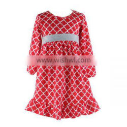 Wholesale latest dress designs long sleeve quatrefoil print baby dress girls dress names with pictures