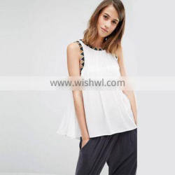 Custom Embroidered Detail Swing Top Dropped armhole Design Women Blouse